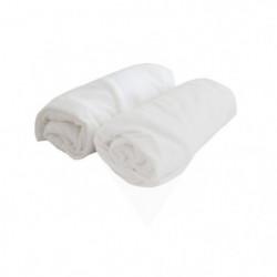 DOUX NID Lot de 2 draps housse Blanc 70x140 cm