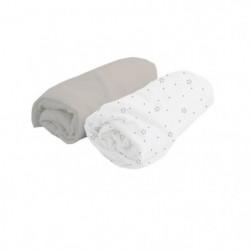 DOUX NID Lot de 2 Draps Housse Blanc pois/Perle 70x140 cm