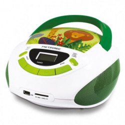 METRONIC 477144 Radio CD enfant style Jungle - vert et blanc