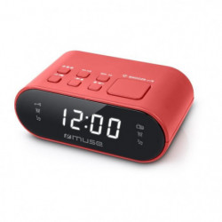 MUSE M-10 RED Radio réveil - horloge 24h - 20 stations - Rouge
