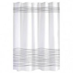 Rideau de douche blanc lignes noires