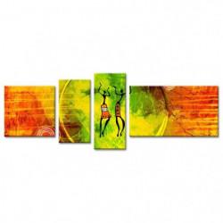 AFRIKA Tableau multi panneaux 160x60 cm jaune