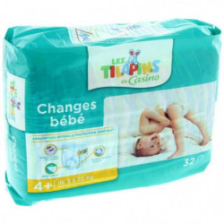 LES TILAPINS Couches Maxi+ Taille 4+ - 9 a 20kg - 32 couches