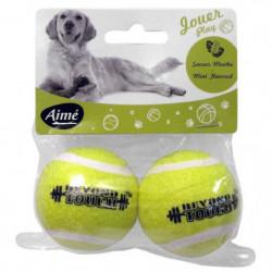 AIME Jouet balle tennis menthe 5cm - Pour chien