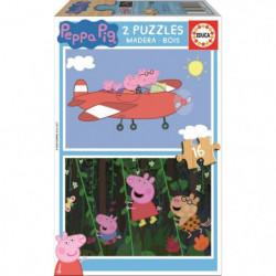EDUCA - Puzzle Bois Peppa Pig 2x16 pcs