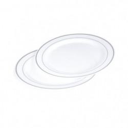 Lot de 6 assiettes blanches avec liseré argent diametre 19 cm