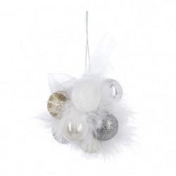 Lot de 11 boules décoratives a suspendre Fleur de Noël - ø30mm