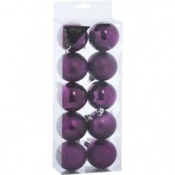 Set de 10 Boules de Noël - 5 cm - Prune