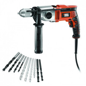 BLACK & DECKER Kit perceuse 1100W avec 10 forets
