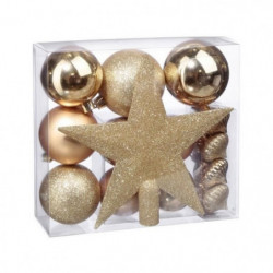 Kit de 18 pieces de Décoration de Noël - Or