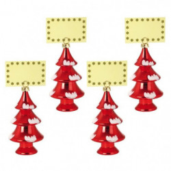 Lot de 4 Décorations sapins de Noël : Porte-Nom rouge