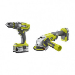 RYOBI Pack 18 V : Perceuse à percussion + meuleuse 115mm