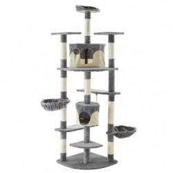 Arbre à chat Timeo - 140x68x204cm - Beige et gris