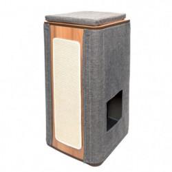 VESPER Arbre à chat en MDF - 42,5 x 87 x 42,5 cm - Gris pierre