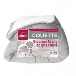 ABEIL Couette tempérée BICOLORE 240x260cm - Blanc & Gris chiné