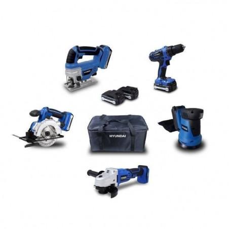 HYUNDAI Pack 5 outils 18V 2 Batteries 1,5Ah et 4Ah (Perceuse