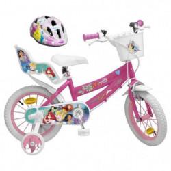 """DISNEY PRINCESSE Vélo 14"""" + Casque - Enfant fille - Rose et blanc"""