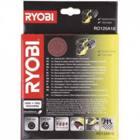 RYOBI 10 disques 125mm pour ponceuse excentrique