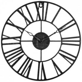 ACDECO Pendule métal Vintage - Noir - Ø 36,5 cm