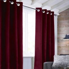 Rideau sueden 100% Polyester - Rouge bourgogne - 140x250 cm