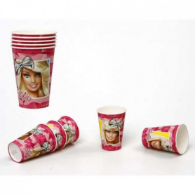 ATOSA Pack de 5 verres en carton jetable - Collection Barbie