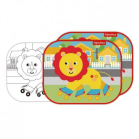 FISHER PRICE Lot de 2 pare-soleils - Lion + feuilles a colorier