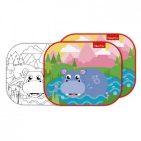 FISHER PRICE Lot de 2 pare-soleils - Hippopotame + feuilles