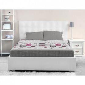 LOVELY HOME Drap Housse 100% coton MOSAICA 180x200 cm - Gris