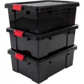 IRIS OHYAMA Lot de 3 boîtes de rangement avec fermeture clic