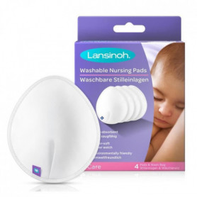 LANSINOH - Coussinets d'allaitement lavables x4 - Pour un confort