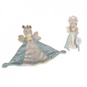 NICOTOY Doudou Licorne bleu 30cm