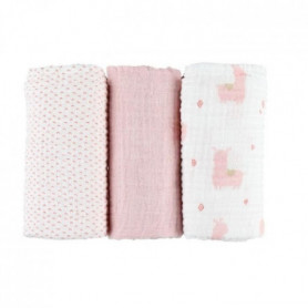 Mix & Match - Set de 3 Langes 70x70CM - Rose - Matiere Mousseline