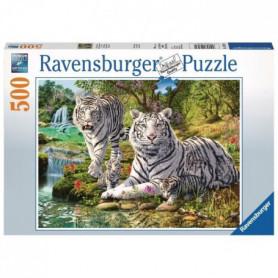 RAVENSBURGER Puzzle 500 p - Famille de tigres blancs