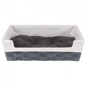 Corbeille Tahira - Fil de papier - 50 × 35 cm - Gris foncé et naturel
