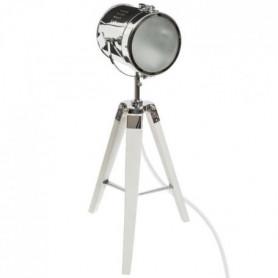 Lampe a poser en métal et bois - H 68 cm - Blanc