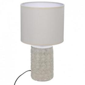 Lampe à poser à motifs en béton - H 33 cm - Beige