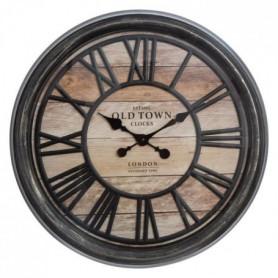 Pendule relief en plastique - Ø 50 cm - Marron