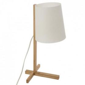 Lampe à poser en bambou et plastique - H 41 cm - Blanc