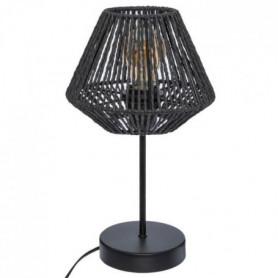 Lampe a poser corde - H 34 cm - Noir