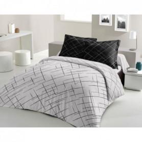 LOVELY HOME Parure de couette Coton - Noir - 240x260 cm