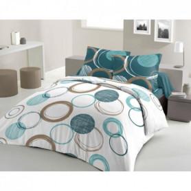 LOVELY HOME Parure de couette Coton AUDACE - Bleu - 200x200 cm
