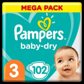 Pampers Baby-Dry Taille 3, 102 Couches