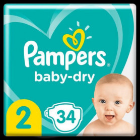 Pampers Baby-Dry Taille 2, 34 Couches