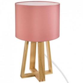 Lampe sur pied en bois - H. 34,5 cm - Rose clair