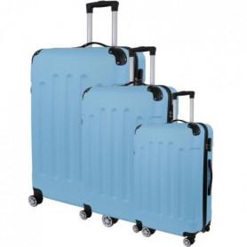 Set de 3 Valises Trolley Rigide ABS - 8 Roues - 50-60-70 cm - Bleu ciel