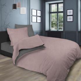 SOLEIL d'OCRE Parure de lit bicolore - 240 x 290 cm - Rose et gris
