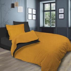 SOLEIL d'OCRE Parure de lit bicolore - 240 x 290 cm - Jaune et gris