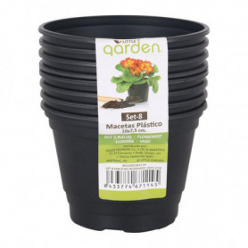 Set de pots Little Garden Plastique Noir (8 Uds)