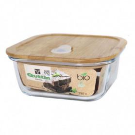 Panier-repas carré avec couvercle Quttin Bambou 750 Cc