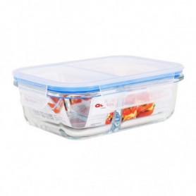 Boîte à lunch hermétique Quttin 2 Compartiments Rectangulaire Verre